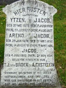 13 grafsteen kinderen van Tamme van Broek en Antje Castelein
